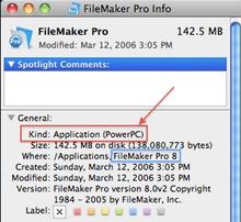 FileMaker Pro 8 Get Info