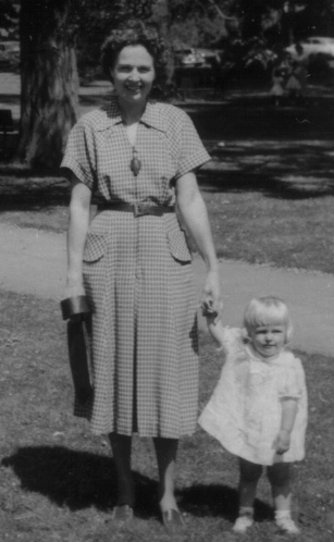 Mom and me in the park - age 1